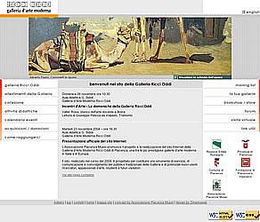Homepage sito Galleria Ricci Oddi